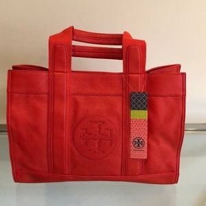 Tory Burch orange leather over the shoulder tote